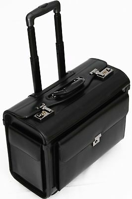 Leather Pilot Briefcase Case Wheeled Laptop Trolley Flight Hand Luggage Doctor