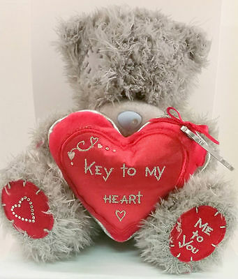 Me To You peluche ourson 20 cm assis *-* CLEF  COEUR *-* tissu flocon nez strass