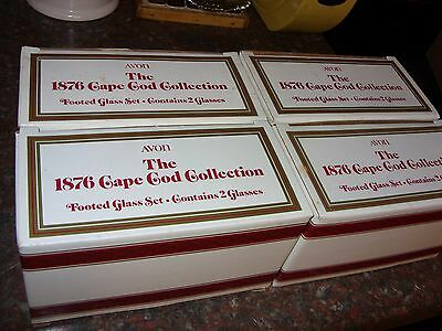 """8 Avon  Cape Cod Ruby Red Footed Glass 3 3/4"""" High"""