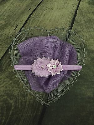 Newborn Baby Girl photo props outfit mohair wrap with headband purple