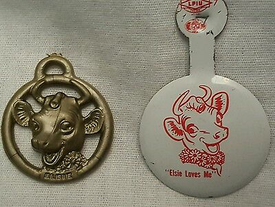 New Lot Of 2 Vintage *elsie The Cow* Pin Rare~ Plastic Pendant~Free Shipping