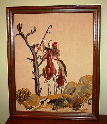 Vtg Warrior Native North American Wall Art Crewel Needle Work Decorative Framed