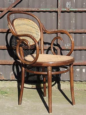 A C20th Quality Bentwood Arm Chair Bergere Back & Base