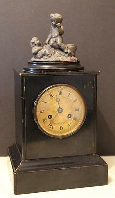 A C19th Ebonized Cased Mantle Clock Chiming on a Bell by Rollin A Pairs