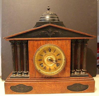 A Victorian Oak & Marble Cased 8 Day Mantle Clock Ansonia Clock Company