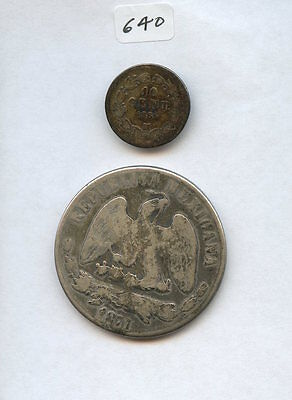 Mexico 1866M 10C & 1871 Peso CnP (#640) Good and VG with Weakness. Carefully Che