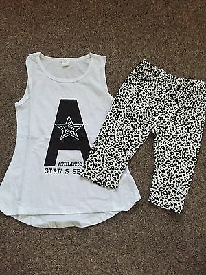 Girls Top And 3/4 Length Leggings Age 5T