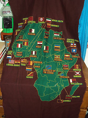 Vintage Fabric Map of Afica/Colorful