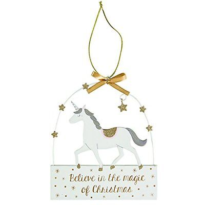 Believe In The Magic Of Christmas Unicorn Plaque Wooden Hanging Decoration Stars