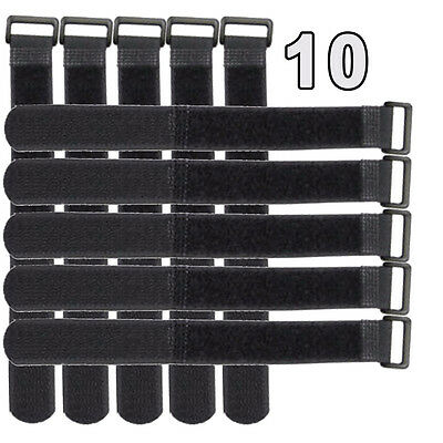 10x Black Wire Cable Cords Straps Wraps Ties Reusable Hook Loop USA