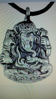LOT OF 2 Ganesh Hindu God Ganesha Elephant Good Lucky Thai Buddha Amulet CHARM