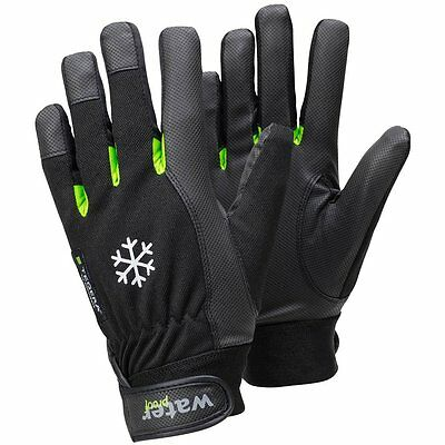 """Ejendals 517-9 Size 9 """"Tegera 517"""" Synthetic Leather Glove - Black/Green"""