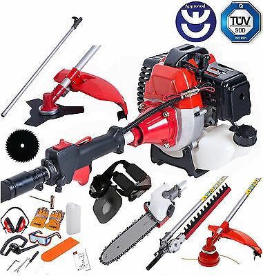 52cc Multi Function Garden Tool 5 in 1 Petrol Strimmer Brush Cutter Chainsaw