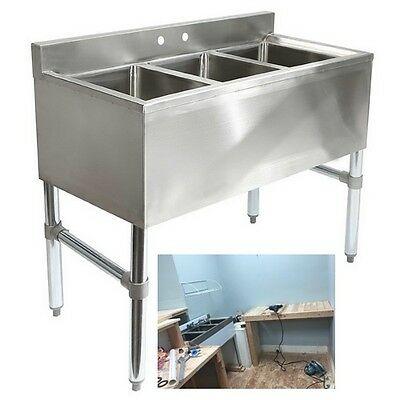 Underbar Sink 3 Compartment Stainless Steel Commercial Kitchen Equipment NSF New