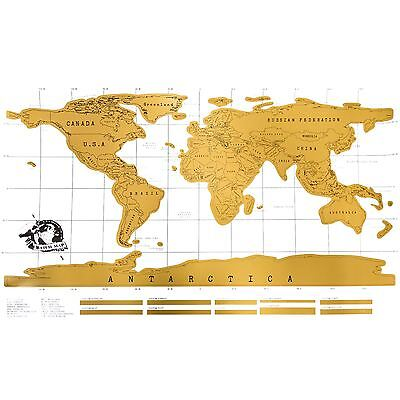 Deluxe Scratch Off Map of the World Poster Personalized Wallpaper Travel Gift