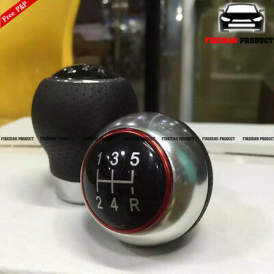 Black Leather Car 5 Speed Gear Shift Knob Stick Manual Shifter Lever Universal