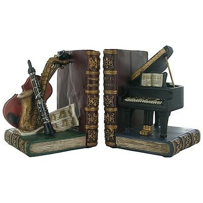 Classical Musical Instruments Shelf Tidy heavy Bookends by Fiesta Studios NEW