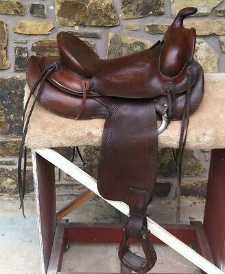 """Rare Edward H. Bohlin Leather Saddle with Rope Tooling with 15"""" Seat"""