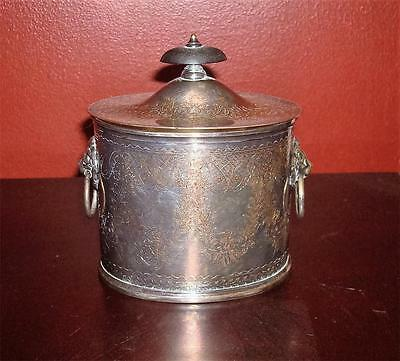 VINTAGe Silver Silverplate ENGLISH BISCUIT BARREL BOX Made in ENGLAND