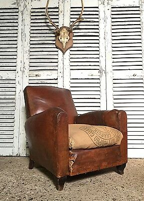 Lovely Vintage French Tan Brown Leather Club Chair