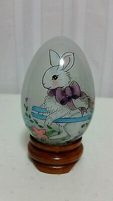 Hand Blown Glass Egg With Reverse Paint Bunny Rabbit With Wood Stand