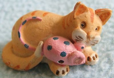 Vintage 1989 PETER FAGAN Hand Painted Miniature Animal Ornament - CAT & MOUSE