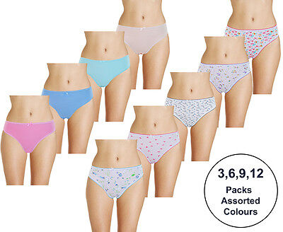 New Ladies Brief Women Cotton Full Knickers Print Plain Bikini Underwear Shorts