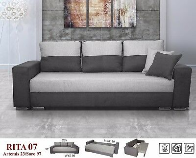 New Large Victoria Sofabed Double Bed Grey/black Beige/brown Bonnell Spring