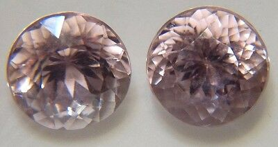Pink Kunzite 16.42ct 12mm, round Brazil brilliant cut, pair for earrings 517