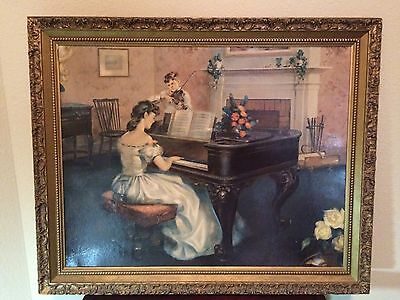 "Antoni Ditlef-Turner Wall Accessory Print-32"" x 36""-Features Pianist/Violionist"