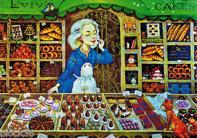 Drawing SWEETS' STORE IN LVIV Modern card publ. in Ukraine