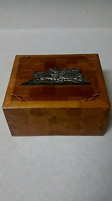 Rare Vintage 1950's Trinket Box - Wood Marquetry - Made In Occupied Japan