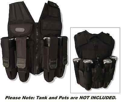 Tactical Vest - Paintball Assault Harness Fast Eject Pot Pouches + Tank Carrier