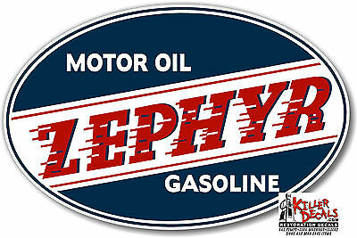 "6"" WIDE ZEPHYR 3 GASOLINE GAS decal lubster gas pump oil man cave"