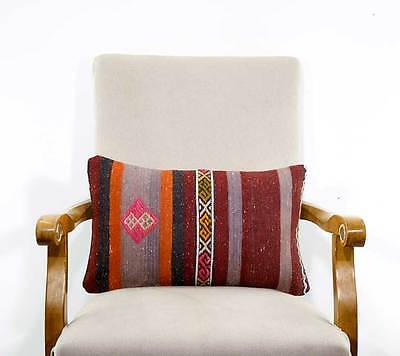 Retro Ethnic Kilim Rug Pillow Turkish Handmade Vintage Lumbar Cushion Cover Sham
