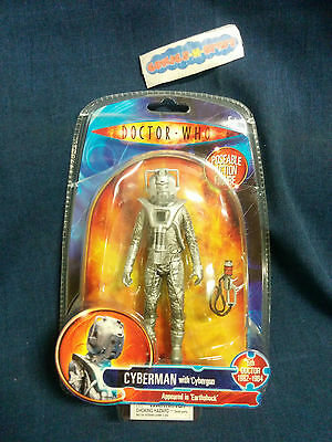 Doctor Who DW CYBERMAN Action Figure with Cybergun 'Appeared in Earthshock' BBC