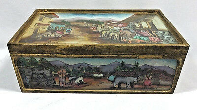 Vintage Wood Box with Reverse Hand Painted Glass Top / Rare