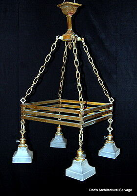 Antique 1900s Brass Arts & Craft Chandelier Old House Salvage Vintage Light