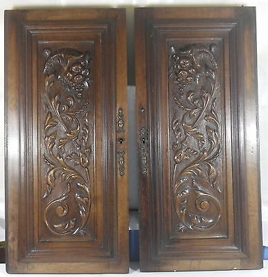 Pair of Antique French wood door  panel carved renaissance walnut