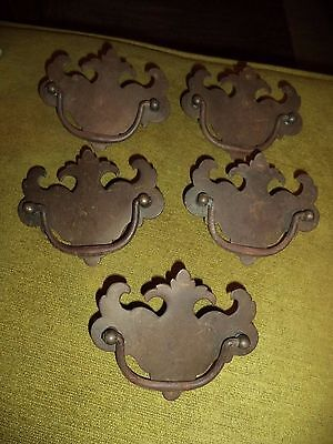 Antique Vintage Set of 5 Metal Drawer Pulls Dresser Handles