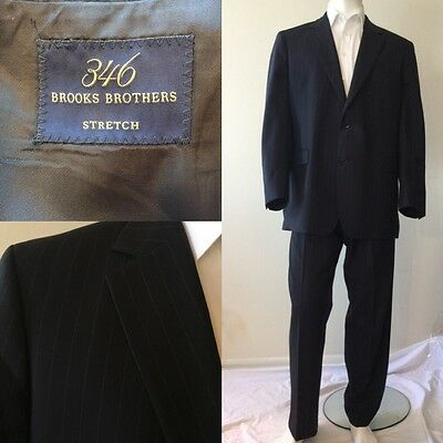 BROOKS BROTHERS Wool & Lycra Full Suit Blazer & Pants Size 46L Navy Striped