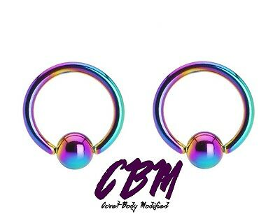 16g 14g Rainbow Captive Bead Ring Anodized Stainless Steel Lip Tragus Stud