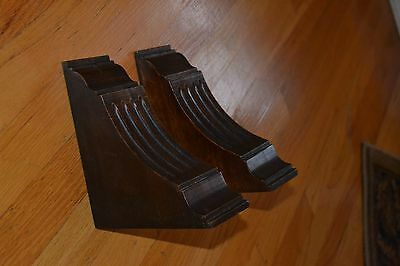 "*7"" Pair of French Antique Walnut Wood Support Brackets/Posts/Corbels"