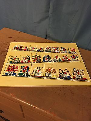 Vintage Wooden Puzzle Train Numbers 1-20