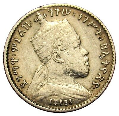 Ethiopia 1 Gersh silver coin KM#12 EE 1895 (1902-03) lion 16.5mm VE01