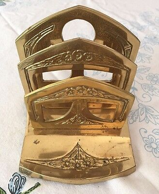 Vintage Antique Letter Holder Bronze Brass 6763 Engraved Rack Stand