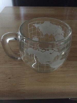 "Nestle Glass World Map Coffee Cup. 3 3/4"" high"