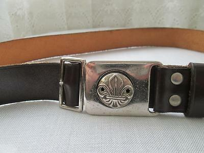Vintage Collectable Boy Scouts / Cubs Brown Leather Belt Silver Buckle Bukta 32