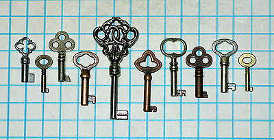 Vtg Antique Reproduction Hollow Barrel Cabinet Desk Lock Skeleton Key Mixed Set