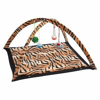 Cat Kitten Soft Play Mat Activity Centre with 4-Hanging Toys Zebra Or Tiger